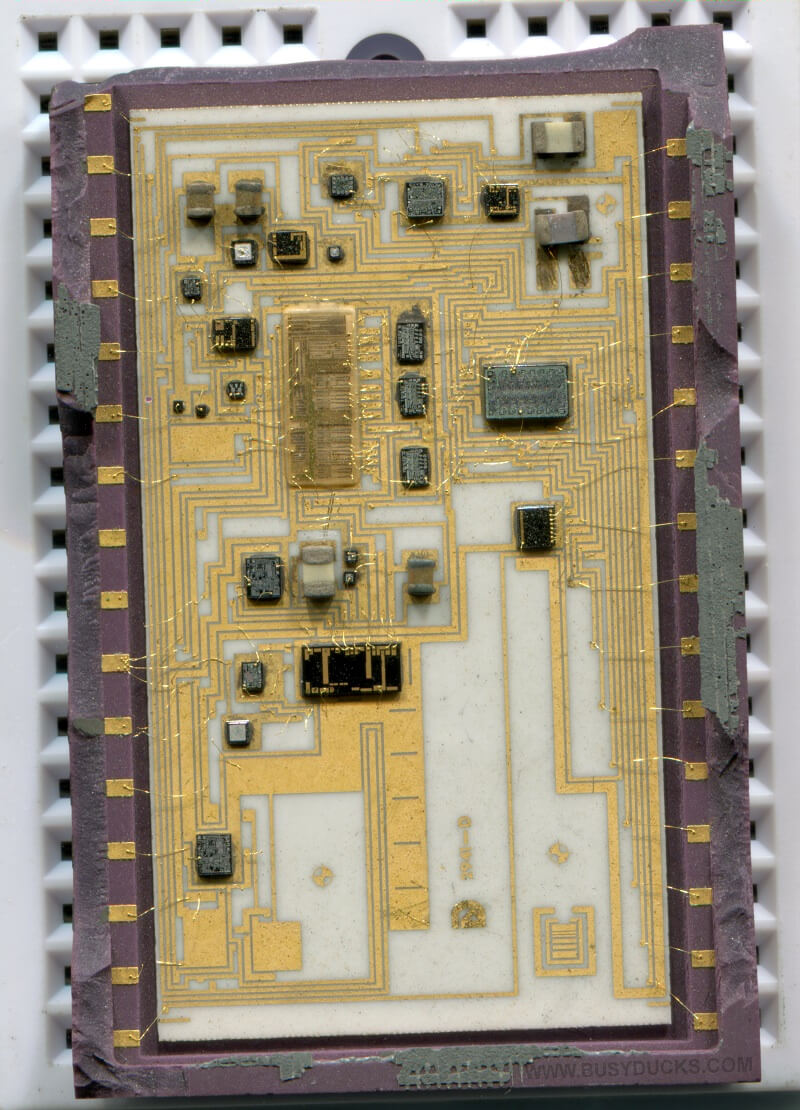 Inside an integrated circuit.